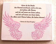 Erinnerungsbild Leinwand Sternenkind weiß-rosa von lilly-art Bauchabformungen und mehr auf DaWanda.com