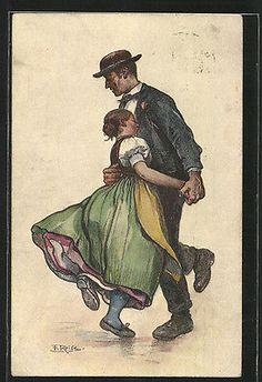 Künstler-AK Fritz Reiss: Schwarzwälder Tanz, Paar in Trachtenkleidung 1912