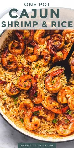 Easy, tasty and flavorful Cajun Shrimp with rice all made in just ONE PAN for a crave-worthy 30 MINUTE MEAL.  | lecremedelacrumb.com #30minutes #shrimpandrice #easydinner Shrimp Recipes For Dinner, Shrimp Recipes Easy, Seafood Dinner, Cajun Recipes, Seafood Recipes, Cooking Recipes, Healthy Recipes, Meals With Shrimp, Shrimp And Spinach Recipes