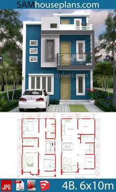 House Plans with 4 Rooms – Sam House Plans – House Design Ideas 2bhk House Plan, Simple House Plans, Model House Plan, House Layout Plans, Duplex House Plans, Dream House Plans, House Layouts, Two Story House Design, 2 Storey House Design