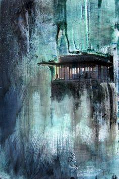 Aquarell auf Foto, blaugrün Darmstadt Hinkelsturm