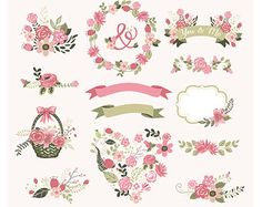 Colorful Flower frames and birds Digital Clipart by BlackCatsMedia