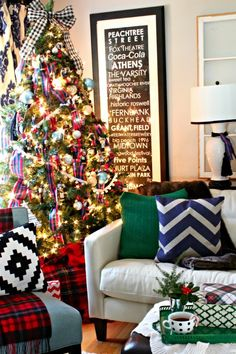 "A Very Merry Christmas Home Tour - This Christmas home tour is all about ""more is more""... more plaid that is! Check out Southern State of Mind's home decked out for Christmas!"