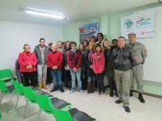 Colegas e alguns alunos, numa palestra realizada nas Minas do Camaquã com profissionais da área de segurança.