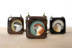 Custom Bird Necklace- Choose your bird and your color- personalized reclaimed recycled wood necklace. $45.00, via Etsy.