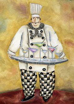 Art Print. Happy Hour Chef by Jennifer Lambein for Studio Petite on Etsy.