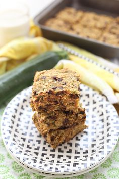 Chocolate Chip Zucchini Bread Oatmeal Bars Try to sub whole wheat pastry flour for rice flour?