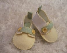 Christmas Felt Baby Shoes  Can Be Personalized