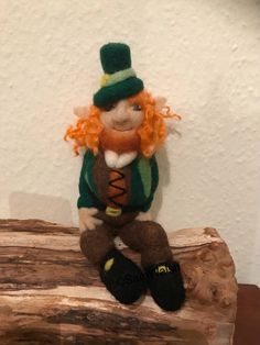 The Leprechaun is sitting on a small wooden plague, he is not permanently attached to the base but I can securely attach him if required.Handmade With Natural Wool. Handmade Gifts, Handmade Items, Irish Leprechaun, Pumpkin Hat, Felt Gifts, Baby Penguins, Soft Sculpture, Gnomes, Needle Felting