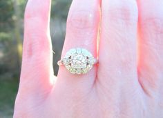 Art Deco  Retro Diamond Engagement Ring Super Fiery by Franziska