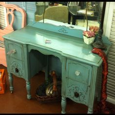 Antique vanity! Fresh paint and knobs!!