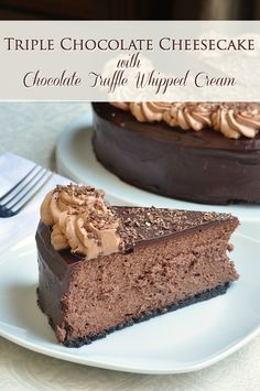 Triple Chocolate Cheesecake, with a cookie crumb base and a luscious chocolate cheesecake layer topped with chocolate ganache