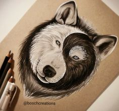 Ying yang wolf by @boschcreations