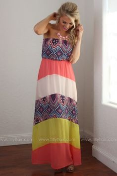 Pops of Color Strapless Maxi Dress in Coral