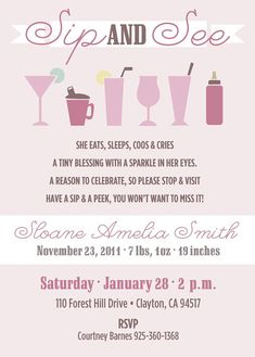 Sip and See Invitations Best Of Reserved for Danielle Baby Sip and See by Apinchoflovely Welcome Baby Party, Welcome Home Parties, Welcome Home Baby, Baby Shower Invites For Girl, Baby Shower Themes, Baby Boy Shower, Baby Shower Invitations, Shower Ideas, Baby Showers