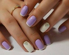 Purple & White French Manicure Nail Polish Design & Silver Gems on Nails Fabulous Nails, Gorgeous Nails, Love Nails, Fun Nails, Pretty Nails, Light Purple Nails, Purple Nail Art, White Nails, Purple Wedding Nails