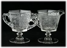 Heisey Imperial Zodiac Cream and Sugar Crystal Clear Elegant Glass Astrology Signs