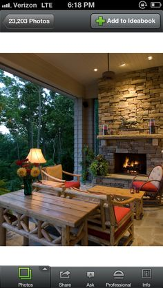 Cliffs Valley - traditional - Porch - Other Metro - BlueStone Construction, LLC .Wonderful outdoor living space, motorized Phantom screens open up to incredible mountain view. Woodburning masonry fireplace with real stacked stone veneer, stone mantle Screened Porch Designs, Screened In Porch, Front Porch, Stone Fireplace Designs, Stone Fireplaces, Stone Mantel, Fireplace Hearth, Mantle, Porch Fireplace
