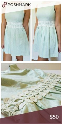 Metallic Mint Fit & Flare Dress w/ White Lace Mint dress with metallic silver sheen. Structured fit and flare dress with pleated skirt and white lace waist. Gently worn. No rips. No stains. Fits size 6 or 8. Total length 33.5 in from shoulder to bottom of skirt. Kensie Dresses