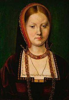 Michiel Sittow - Katharina von Aragon / Gem.v.Sittow (49,0 x 71,0 cm)