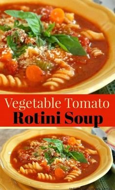 Skip the guilt and enjoy a big bowl of this Hearty Vegetable-Tomato Rotini Soup that's both light and filling for dinner tonight. Gourmet Recipes, Soup Recipes, Vegan Recipes, Dinner Recipes, Cooking Recipes, Dinner Ideas, Vegan Soups, Recipies, Popular Recipes