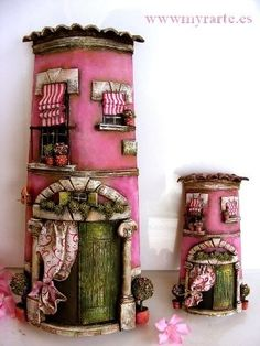 One pinner suggested using a pringles can and polymer clay. Polymer Clay Kunst, Polymer Clay Fairy, Polymer Clay Projects, Polymer Clay Creations, Craft App, Clay Fairy House, Fairy Houses, Pringles Can, Clay Houses