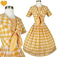 Vintage 50s Orange Plaid Full Skirt Dress S M, $185.00
