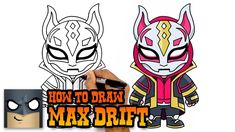 Learn How to Draw Max Drift from Fortnite. Easy Cartoon Drawings, Disney Drawings, Easy Drawings, Simple Cartoon, Cartoon Kids, Cartooning 4 Kids, Drawing Lessons, Drawing Ideas, Cartoon Network Characters