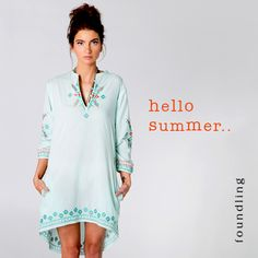 hello Summer - checkout our Pavati kaftan in bluegrass with three colour aztec embroidery in spearmint, white & mandarin, pockets & a gently dipped hemline all in 100% pure cotton voile..www.foundling.com.au