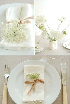 Babys breath table setting decoration--silverware only