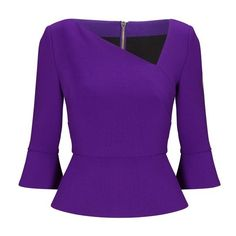Designer Clothes, Shoes & Bags for Women Long Sleeve Peplum Top, Purple Long Sleeve Tops, Peplum Tops, Bell Sleeve Top, Jet Set, Woolen Tops, Sewing Blouses, Women Church Suits, Fancy Tops