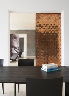 Love the copper wall.maybe make it a sliding door? M :: Copper wall Interior Architecture, Interior And Exterior, Interior Door, Copper Interior, Copper Mountain, Copper Wall, Copper Paint, Hammered Copper, Wall Finishes