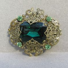 1920's Czech Gilt Filigree Cannetille Vintage Pin Brooch, BIG Emerald Green Rhinestone