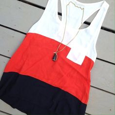 Red, black and cream color block tank top. Razorback color block tank top. Fits flowy, a little longer in back. bought at boutique. Super cute! Reasonable offers always considered Millibon Tops Tank Tops
