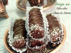 Algerian/French no-bake cookies with coconut. gateaux sans cuisson doigts au chocolat