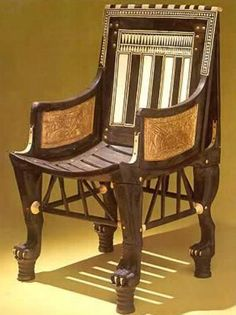 Child's Chair, Tutankhamun exhibit -  Because of its small scale (less than thirty inches high), this wooden chair was considered by Carter to have been used by Tutankhamun as a child.