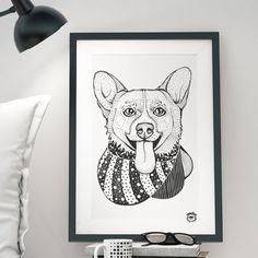Pembroke Welsh Corgi Dog A4 illustration print art dog by mmuffn