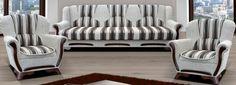 Štýlová rozkladacia sedacia súprava s úložným priestorom, ktorá sa skladá z 3-sedu a 2 kresiel. Vnútro sedáku obsahuje odolnú kovovú bonel pružinu, použité ozdobné drevo v prevedení wenge, 3-sed je rozkladací (Klik-Klak systém) a má úložný priestor.