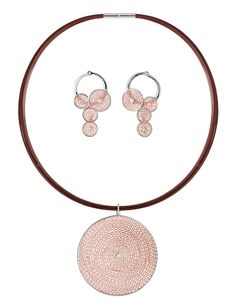 Jorge Revilla Sterling Silver and Rose Gold Vermeil Malla necklace and hoop earrings