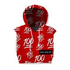 100 Cropped Hoodie ($56) ❤ liked on Polyvore featuring tops, hoodies, crop top, hooded sweatshirt, red sleeveless top, red hoodie and sleeveless tops