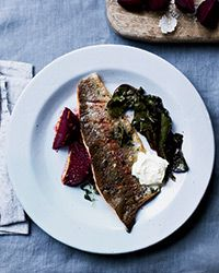 Rainbow Trout with Brown Butter and Salt-Roasted Beets Recipe on Food & Wine