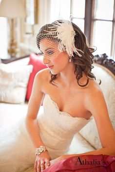 Birdcage Veil With Freshwater Pearls and Swarovski Crystal