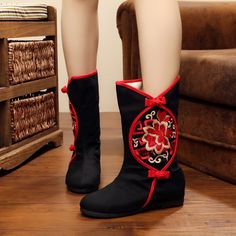 New fashion embroidery Retro style woman short boots women winter boots for ladies free shipping zapatos mujer