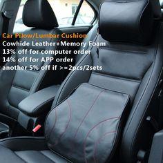 車のカバーカー枕腰椎バックサポートクッション本物の牛革レザー+メモリ泡の車のヘッドレスト首枕車スタイリング黒