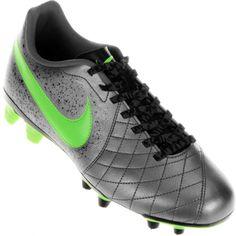 Chuteira Nike Flare 2 FG Campo Masculina Prata / Verde