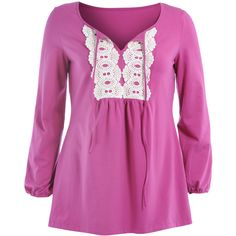 Manon Baptiste Hot Pink Plus Size Tied T-Shirt with crocheted lace (9.540 RUB) ❤ liked on Polyvore featuring tops, t-shirts, hot pink, plus size, hot pink t shirt, plus size purple top, sexy tops, ruched tee and hot pink top