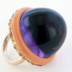 taffinjewelry. Cabochon amethyst, orange garnet, lacquer and rose gold ring.
