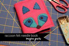 raccoon felt needle book by imaginegnats, via Flickr