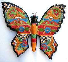 Talavera Walls | Mexican Talavera Pottery Butterfly Wall Sculpture