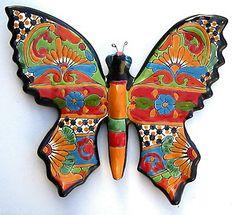 Talavera Walls | Mexican Talavera Pottery Butterfly Wall Sculpture